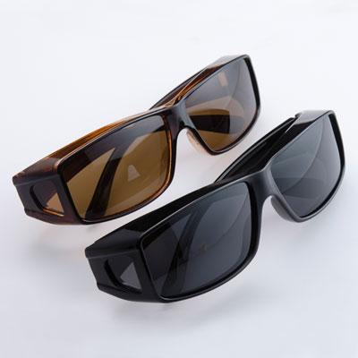 偏光オーバーサングラス2色組(ケース付き)