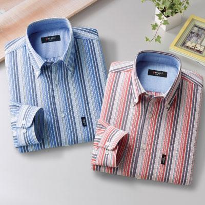 サッカー生地ストライプ柄長袖シャツ2色組