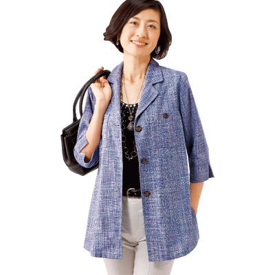 七分袖シルク混先染めジャケット