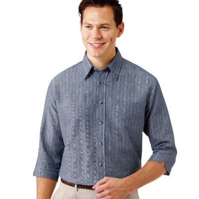 麻混ストライプ七分袖シャツ3色組