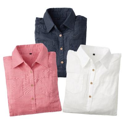 綿100%やわらかダブルガーゼ七分袖シャツ3色組