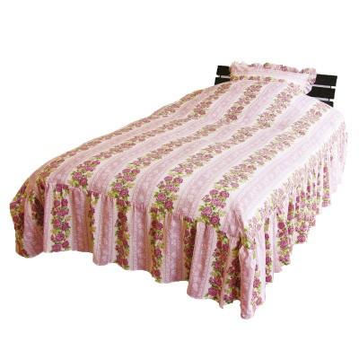 花柄フリル付き布団カバー&枕カバー
