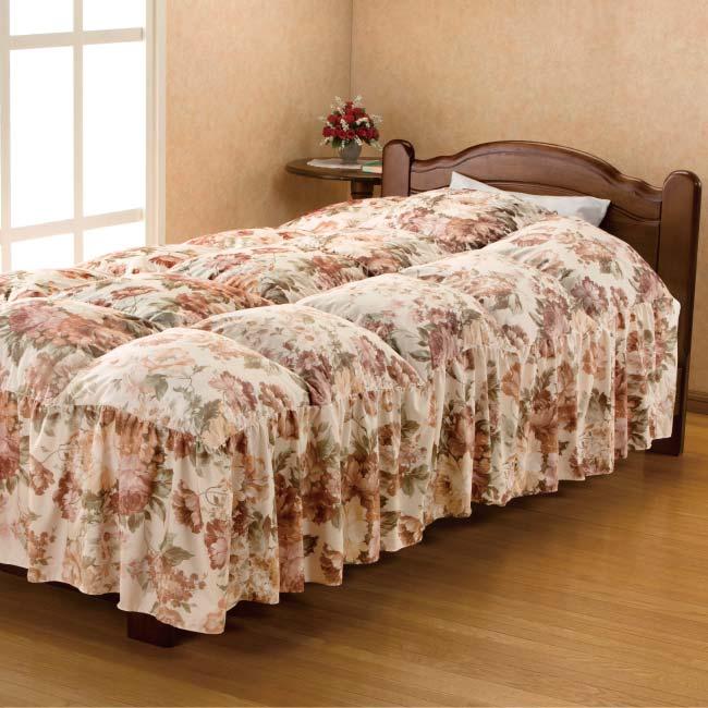 防ダニ洗えるベッド用フリル付き羽根布団