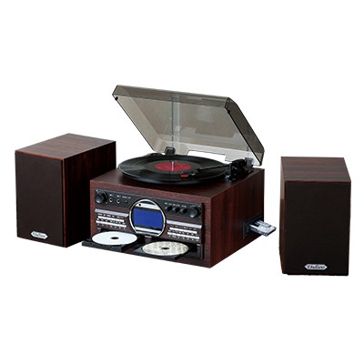 木目調DVDカラオケ録音機能付きCDコピープレーヤー