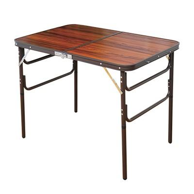 高さ調節できる木目調折りたたみテーブル