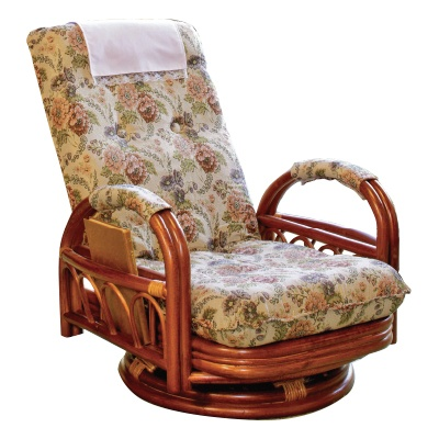 籐製ギア式リクライニング座椅子