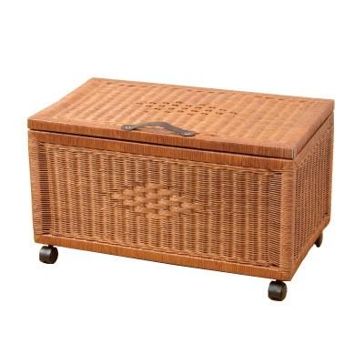 キャスター付き籐の収納ボックス