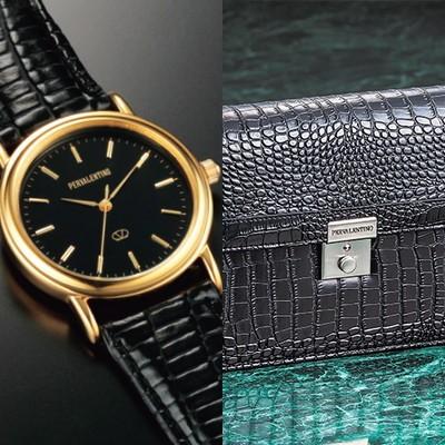 クロコ調セカンドバッグ&腕時計セット