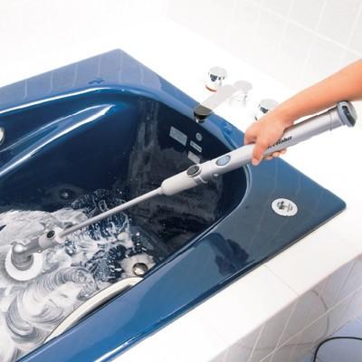 屈まず浴槽磨き:充電式お風呂回転ブラシセット【動画解説付】